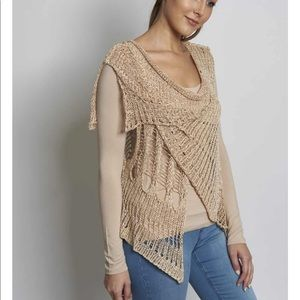 Taupe open weave vest. One size